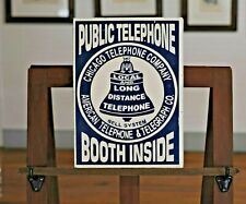 Beautiful Porcelain Double Sided w/Flange Chicago Public Phone Inside Sign