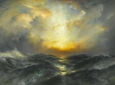 Wonderful Oil painting Sunset at Sea by Thomas Moran with huge ocean waves art