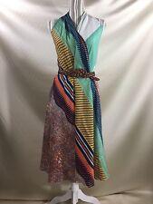 ROBERTA FREYMANN Halter Cotton Wrap Dress Open Front Top Swimsuit Cover Up OSFM