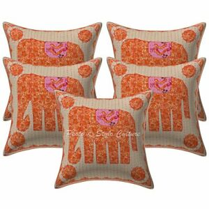Indian Cotton Elephant 16x16 Applique Patchwork Kantha Throw Pillow Covers