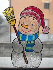 Decorazioni per finestre Natale. Pupazzo di neve glitterato per finestre.