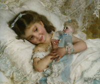 CHENPAT355 smiling little girl playing doll art hand-painted oil painting canvas