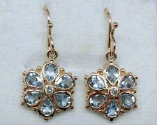 E036 Genuine 9ct Rose Gold NATURAL Aquamarine & Diamond Blossom Drop Earrings