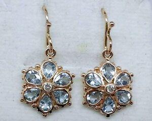 E036 Genuine 9ct Rose Gold NATURAL Aquamarine & Diamond Blossom Drop Earrings