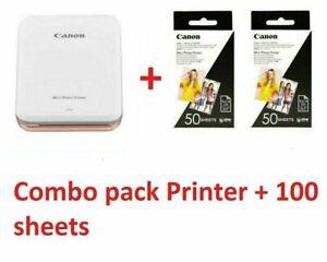 Canon Mini Photo Printer PV-123 Mobile Portable INCLUDES 110 Sheets Photo Paper