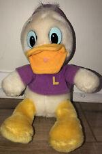 Vintage 1980's Disney DuckTales Purple 'Louie' Plush Stuffed Animal Toy 20cm