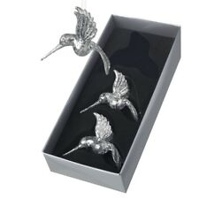 Heaven Sends Set of 3 Glass Hummingbird Silver Christmas Tree Decorations