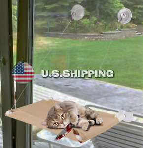 Cat Bed, Window Hammock / Perch, Raised Resting Post for Large & Small Cats