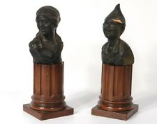 Pair Sculptures Busts Terracotta Characters Woman Boy 19th Century