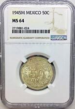 1945 MS64 Mexico Silver 50 Centavos UNC KM #447  NGC