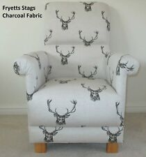 Fryetts Stag Head Fabric Adult Chair Charcoal Rustic Vintage Armchair Grey Deer