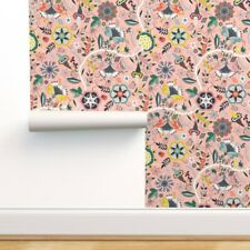 Removable Water-Activated Wallpaper Chintz Indian French Antique Pink Floral