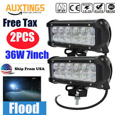 2PCS 36W LED Work Light Bar Flood Beam Offroad Driving Truck Boat UTE SUV 4WD