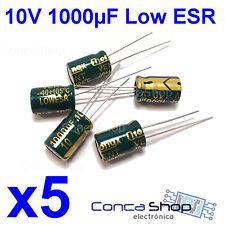5 x CONDENSADOR ELECTROLITICO 10V 1000uF 105º LOWESR BAJA IMPEDANCIA Ø7x12mm