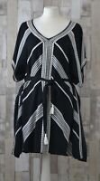 Stella & Dot Black & White Geometric Print Beach Dress Cover Up Boho Style Size