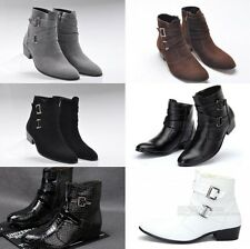 Fashion Biker Mens ankle chukka Casual boots Zipper buckle Dressy casual shoes