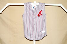 CLEVELAND INDIANS sleeveless Pinstriped JERSEY by Majestic Youth Medium NWT gray