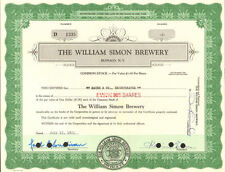 "The William Simon Brewery > Buffalo New York ""Simon Pure"" beer stock certificate"