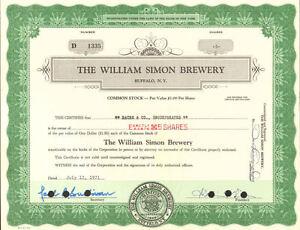 "The William Simon Brewery > Buffalo New York ""Simon Pure"" beer stock certificate"