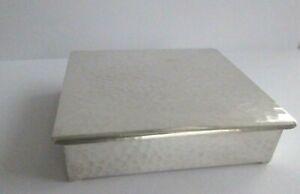 "ANTIQUE ARTS & CRAFTS WMF SILVER PLATED BEATEN CEDAR WOOD HINGED BOX 4"" X 3.5"""