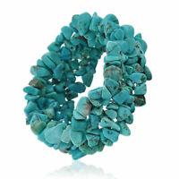 Blue Enhanced Turquoise Chip Stone Chunky Cluster Multi Strand Stretch Bracelet