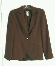 Jones New York Petite Size 2P Solid Brown Textured Polyester Jacket Blazer MINT