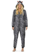 Leopard Adult Hooded ONE PIECE Pajamas Fleece Union Suit Costume