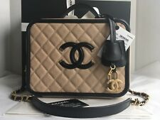 Auth BNIB Chanel Filigree Vanity Case Bag Caviar Beige Black Large Size 2017