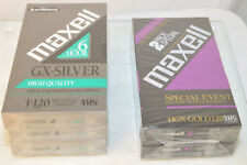 5 NEW Maxwell VHS Blank Tapes Sealed - 3 GX Silver T-120 & 2 HGX Gold 120