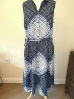 Laura Ashley Blue Patterned Tie Waist Sleeveless Shirt Dress Size Uk16