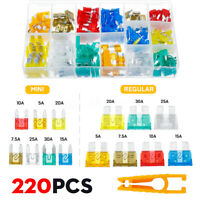 220PCS Mini & Standard Blade Fuse Assortment Auto Car Truck Fuses Kit APM ATM