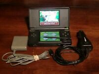 Nintendo DS Lite Black w/ AC & Car Charger & Hidden Objects Mystery Stories game