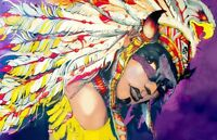"Street Art American Native Indian Girl CANVAS PRINT poster 16""X12"""