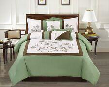 Modern 7 Piece OLIVIA Bedding Sage Green / White Emboidered QUEEN Comforter S D1