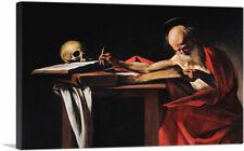 "Saint Jerome Writing 1606 Canvas Art Print by Caravaggio 26""x18"" (.75"" Deep)"