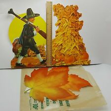 Fall Autumn Thanksgiving Decoupage Paper Cut Outs Pilgrim Leaf Forbes Litho USA