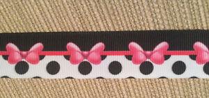 """Black White Pink Minnie Bow Fish Extender 7/8"""" Grosgrain Ribbon Hair Bows 1 Yd."""