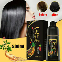 500ml Permanent Black Hair Shampoo Natural Ginger Coloring Dye for Women Men