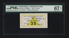 WW2 NETHERLANDS 1944 AMERSFOORT 25 CENT CONCENTRATION CAMP * PMG 67 * UNC GHETTO