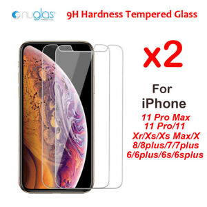 2xNuglas for iPhone 11 Pro Max Xr X Xs Max 876+ Tempered Glass Screen Protector