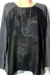edc by ESPRIT Shirt Gr. XL grau-schwarz Blusen Shirt/Langarmshirt