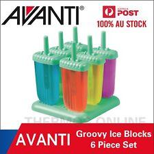 NEW AVANTI Frozen Groovy Ice Block Moulds 6 Piece Set Green! BPA Free!