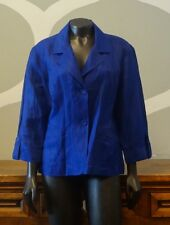 CHICOS 2 Twilite Blue Crinkle Linen Semi Sheer Double Button Blazer Jacket