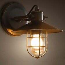 Black Cage Glass Vintage Industrial Warehouse Barn Porch Wall Light Sconce Porch