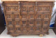 Antique Tibetan Lift Top Carved Wood Cabinet Lot 453