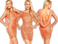 Mayaadi Kleid Minikleid Chiffon Häkel Spitze Abendkleid Spitzenkleid Hochzeit S