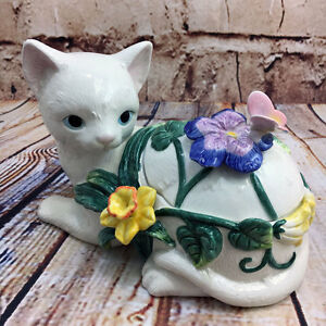 White Cat Kitten & Butterfly Decorative Lidded Box with Surprise Inside