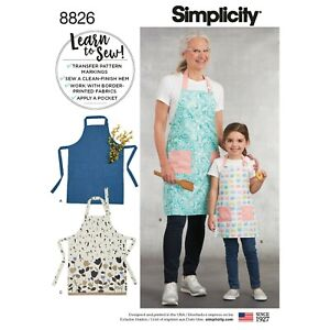 Simplicity Sewing Pattern 8826 Misses & Children's Aprons W/Pockets Learn to Sew