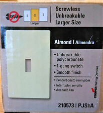 LOT of 4 Screwless Wallplate Switch 1 Gang PJS1A Cooper Wiring Devices ALMOND
