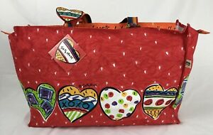Sally Huss Large Weekender Tote Bag Love You with All My Hearts w/ Tags